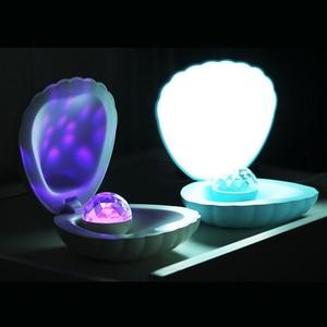 Image 4 - Coquimbo Shell LED Projektion Lampe Gebaut In Akku Schlafzimmer Home Dekoration Touch Schalter Kinder der Nacht Licht