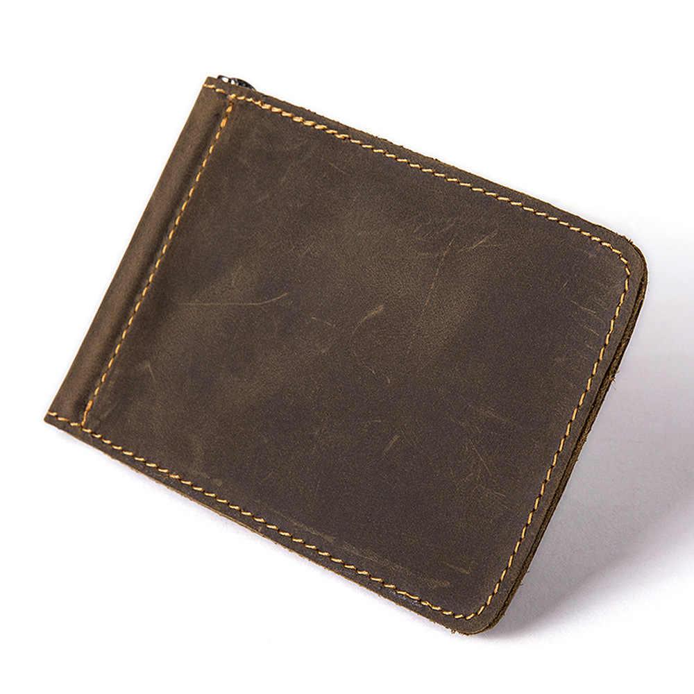 Cartera de cuero genuino para hombre, Cartera de cuero de marca de lujo, tarjeta de crédito famosa, tarjetas de visita, billetera mágica, Clips de dinero 2019