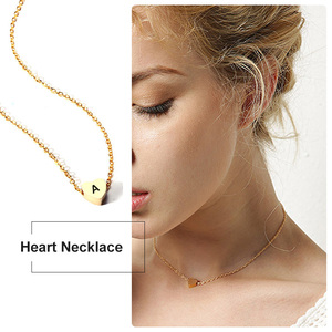 Custom Heart Necklace Personalized Women Love Choker Necklace Initial Letter Engraved Stainless Steel Fashion Girls Gifts