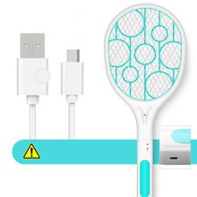 Electric Insect Racket Swatter Zapper USB Rechargeable Mosquito Kill Fly Bug Killer Trap