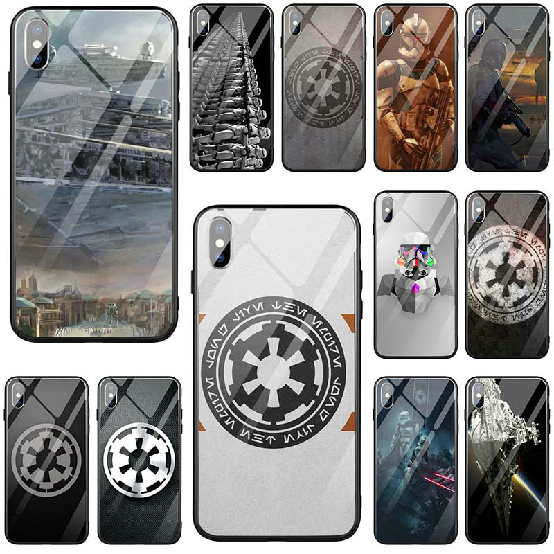 Star Wars Imperial <font><b>Logo</b></font> Tempered Glass Phone <font><b>Cases</b></font> Cover for <font><b>iPhone</b></font> 5 5S SE X XR XS Max 10 7 6 <font><b>6s</b></font> 8 Plus Coque Funda Bags image