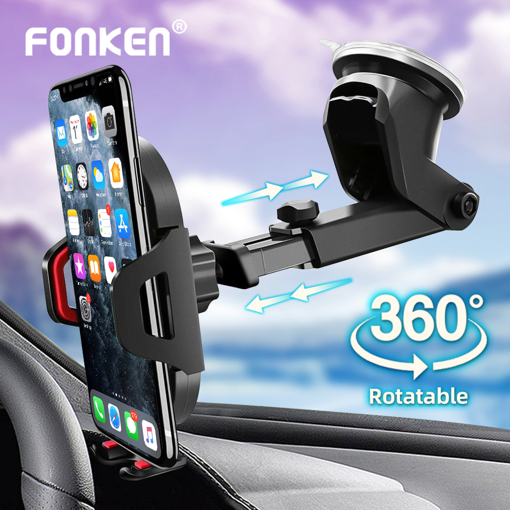 FONKEN Suction Cup Phone Car Holder Scalable Glass Desk In Car Mobile Holder Stand Large Screen Smartphone GPS Auto Bracket