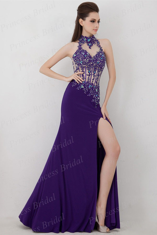 Free Shipping Fashion Lady Mermaid Halter High Slit Beaded Backless Floor Length High Neckline Prom Dress With Appliques AA2180