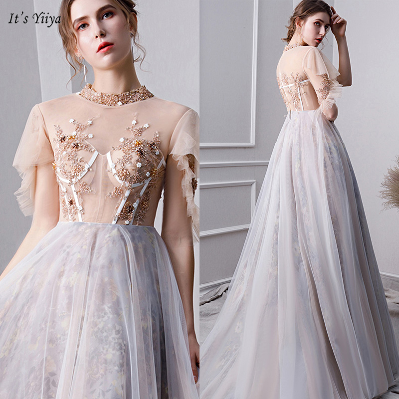 It's Yiiya Prom Dress High Neck Short Sleeve Illusion Vestidos De Gala Sequin A-Line Floor-Length Dresses Women Party Night V107