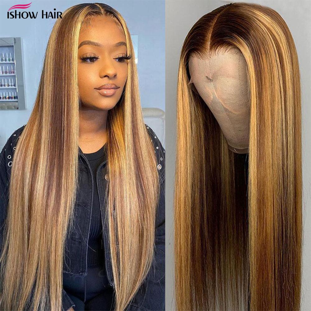 Perruque Lace Front Wig cheveux naturels-Ishow | Perruque cheveux humains, lisse, reflets, ombré, marron, 13x4, 13x6