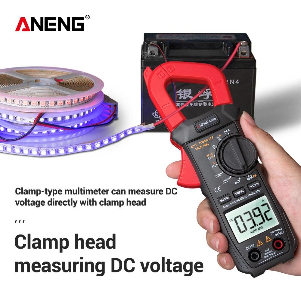 포켓 디지털 클램프 미터 ncv ac dc 전압 전류 전류계 전압계 온도 커패시턴스 옴 테스터 비 접촉 측정기 테스트