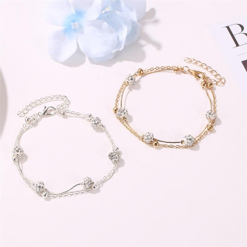 Women Bracelet Round Anklet Bracelets Layered Bangles Lady Rhinestone Jewellery Fashion Trendy Silver Color Stainless Pulseras