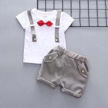 Maluch Baby Boy letnie ubrania Gentleman Bow T-shirt topy szorty spodnie stroje ubrania dla dzieci chłopcy zestaw ubrana dla chlopca