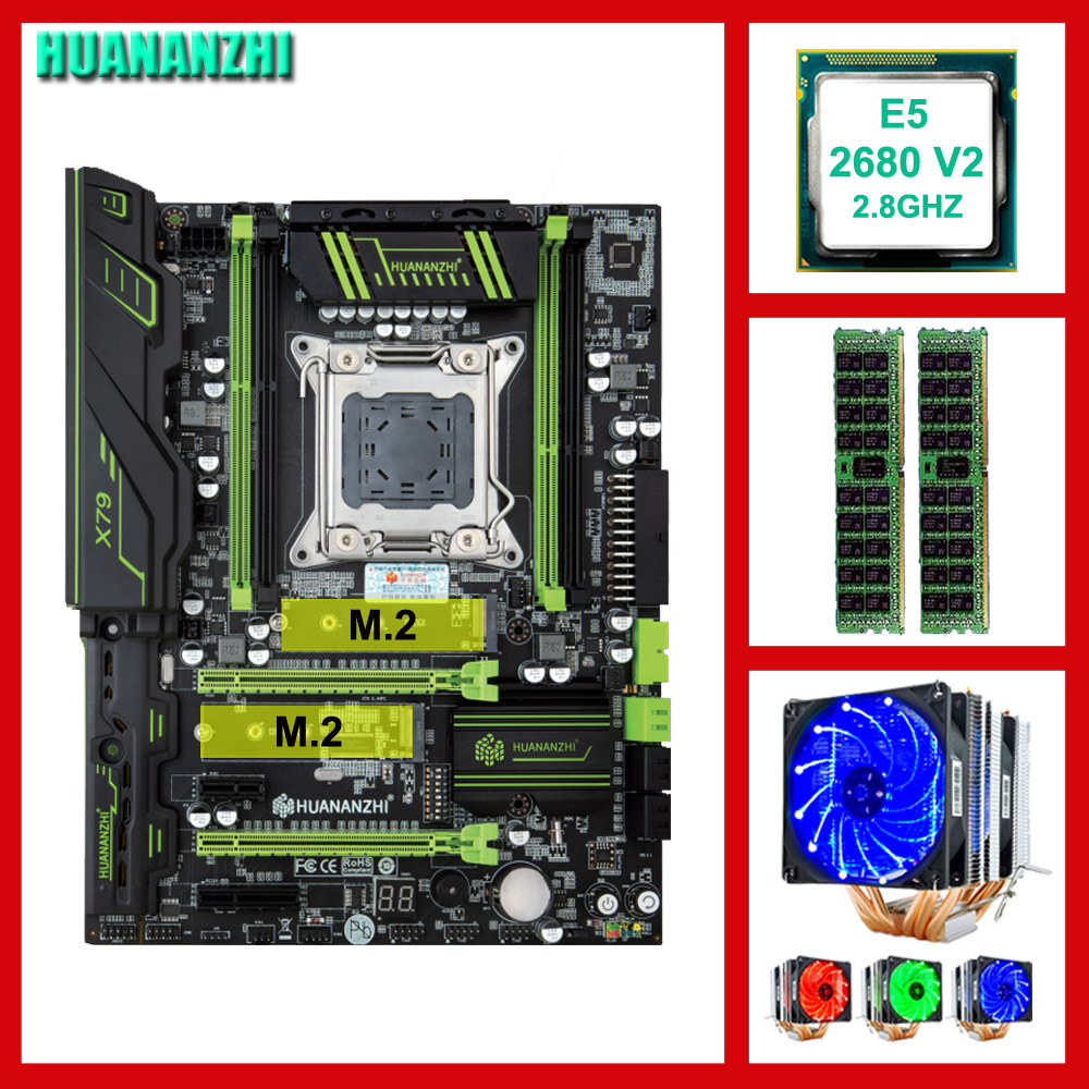 Brand motherboard on sale HUANANZHI X79 Pro motherboard with DUAL M.2 slot CPU Intel Xeon E5 <font><b>2680</b></font> V2 with cooler RAM 32G(2*16G) image