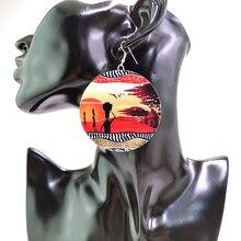 YD & YDBZ Vintage puesta de sol pendientes de gota de madera para mujer americanos africanos Tribe Ethnic Bohemia joyería para mujeres regalos 1 par