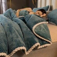 毛布とキルト肥厚冬サンゴのベルベットのベッドシートカバー毛布シングルフランネル二重層保温火災