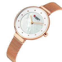 цена на CURREN Female Watch Classic Luxury Ultra Thin Women Watches Gold Stainless Steel Quartz Watch Mesh Waterproof Bayan Kol Saati