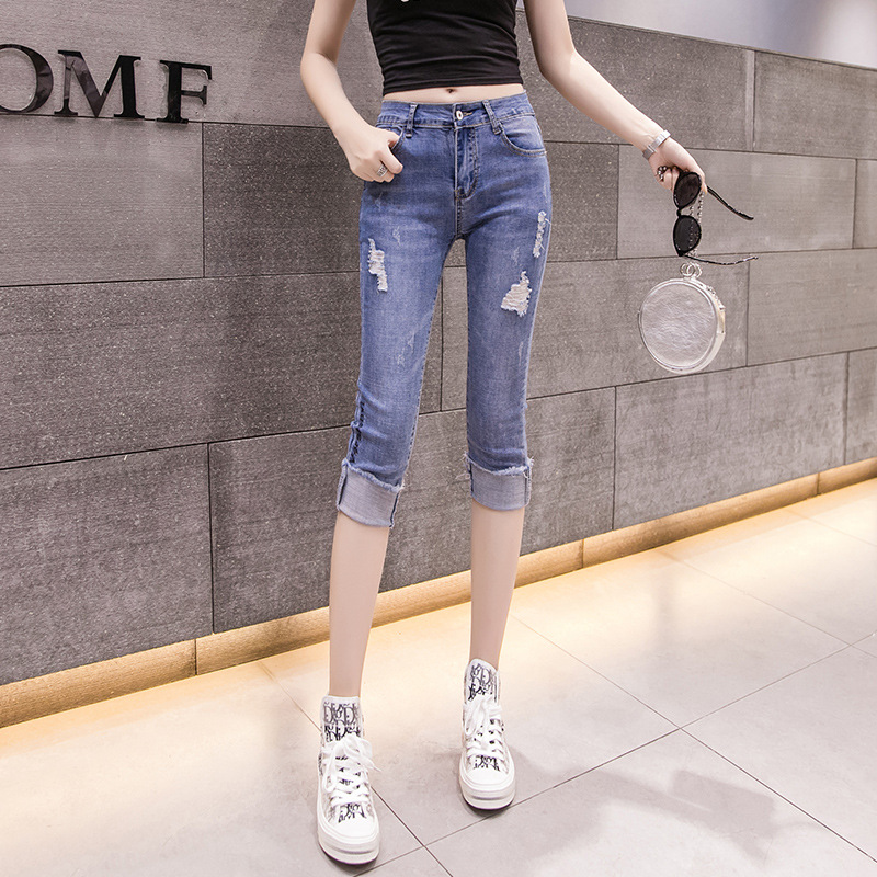 2019 New Style Elasticity Slim Models WOMEN'S Cropped Pants 5667 #