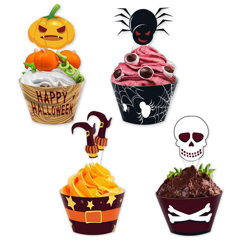 Image 2 - Halloween Muffins Cupcake Paper Cups Cake Decorating Tools Cupcake Liner&Cake Topper Baking Tools Cake Wrappers Paper Cup-in Cake Decorating Supplies from Home & Garden
