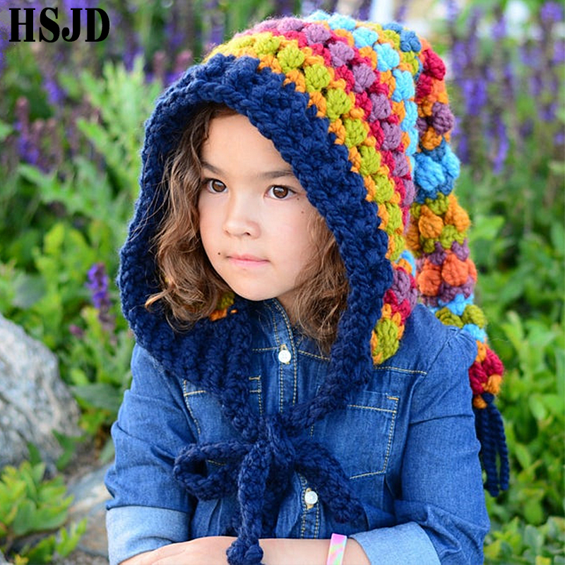 Kids Winter Hats Handmade Crochet Elf Beanie Hat Children Warm Knitted Rainbow False Collar Elf Hat Hooded Cap Boy Girl Xmas Cap