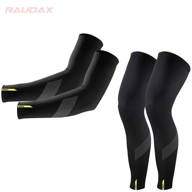 Pro equipe mavic cósmica aquecedores de perna proteção uv preto ciclismo braço mais quente respirável bicicleta corrida mtb perna manga 1
