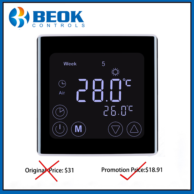 Beok TST17-EP 16A Weekly Programmable Floor Heating Thermostat Electric Heating Room Temperature Controller