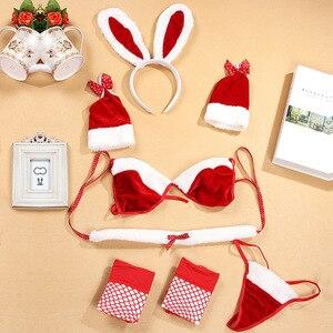 Image 5 - הילדה החדשה קטיפה באני חתונה הלבשה תחתונה סט קוספליי מדים נשים אדום חזיית סט סקסי שישה מקשה חליפת חג המולד תחפושות