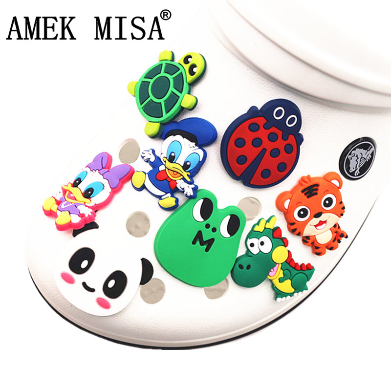 Single Sale 1pcs PVC Shoe Charms Tortoise/Frog/Dinosaur/Ladybug/Tiger Shoe Decoration Accessories For Croc Jibz Kids Party X-mas