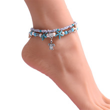 Bohemian fashion multi-layer beach anklet bracelet turtle pendant summer sandals charm jewelry