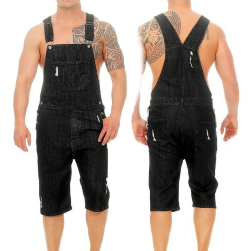 Overalls Men Ripped Jeans Jumpsuits Distressed Casual Denims Trousers Dungarees Bib Man Suspender Stretch Pants Plus Size