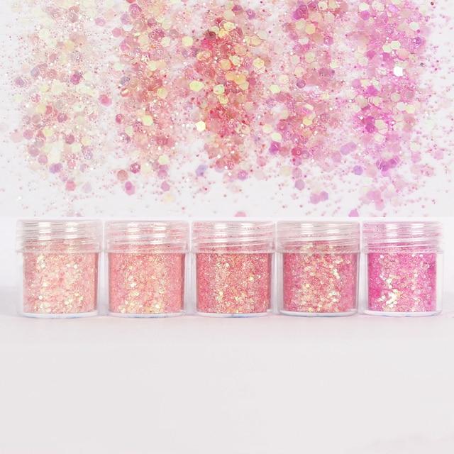 5pots Pink Set UV Resin Mold Filling Material Hexagon Glitter 1mm Sequin Mixed For Diy Handmade Epoxy Resin Craft Decro Material
