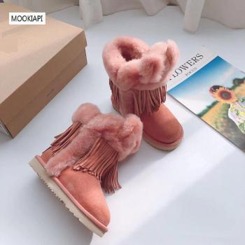 In 2019, China's top quality women's snow boots, real sheepskin, 100% pure wool, new women's shoes, four colors
