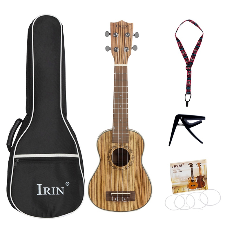 Irin haute qualité ukulélé Kits zèbre bois 4 cordes hawaïenne Mini guitare Uke sac chaîne Capo sangle