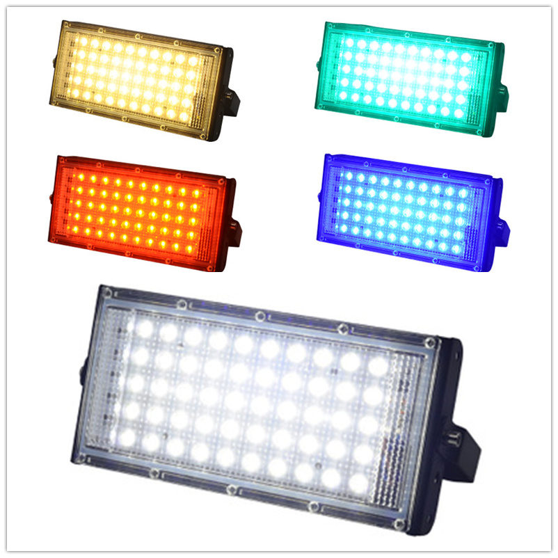 Led Power Floodlight Waterproof Spotlight Street Lamp 220v 240v Cool White Red Green Blue Spot Light Landscape Lighting IP65