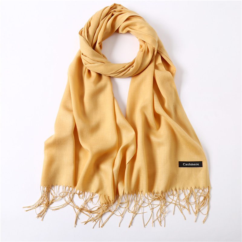 2019 Fashion Cashmere Hijab Scarf For Women Winter Solid Shawls And Wraps Autumn Pashmina Scarfs Female Head Scarves For Ladies