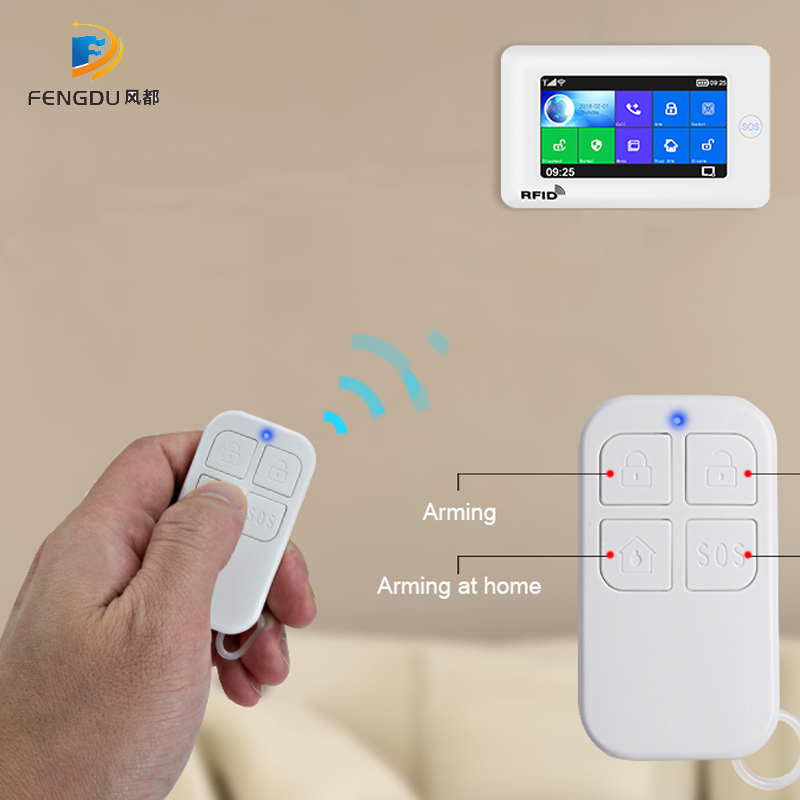 Wireless Remote Control High-Performance Portable 4 Buttons Keychain For WIFI GSM Home Security Alarm System 433MHz