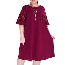 2020 New Women Casual Dress Cotton A-Line O-Neck Knee-Length