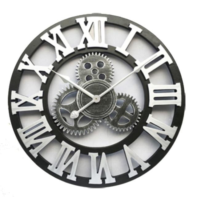 Handmade Oversized 3d Retro Rustic Decorative Luxury Art Big Gear Wooden Vintage Large Wall Clock On The Wall Stereoscopic Wall Clocks Aliexpress