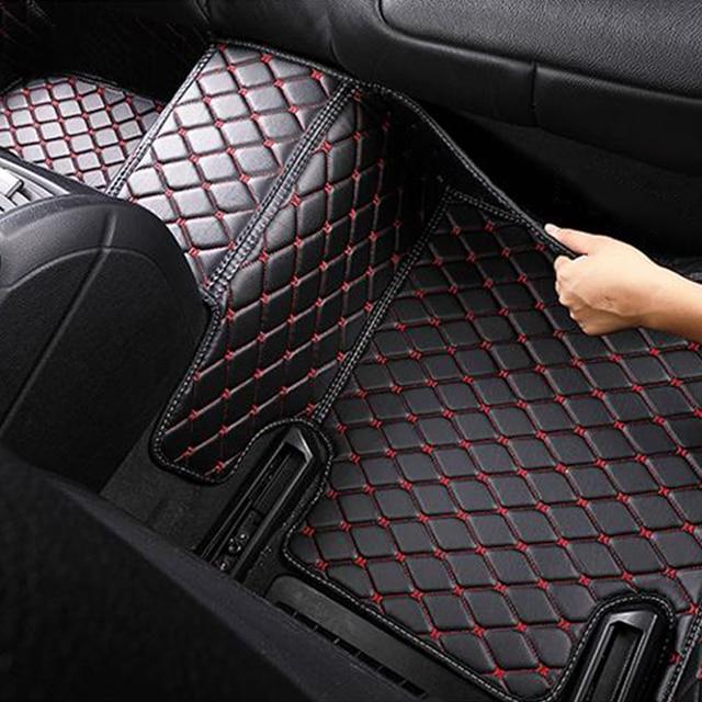 Tapis de sol imperméables en cuir de luxe   Styliste de voiture, personnalisées tapis avec Logo rayé, tapis en cuir pour Mitsubishi Airtrek