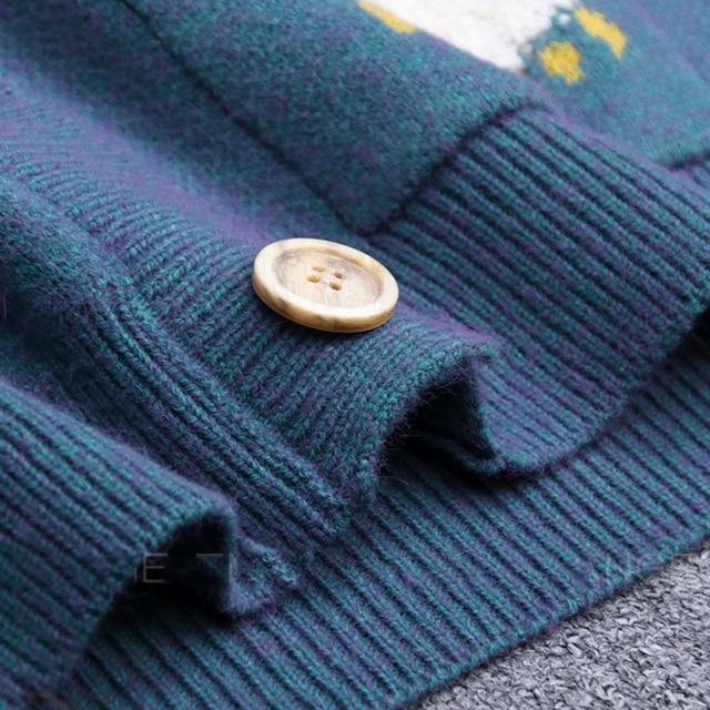 Autumn Winter Knitted Female Cardigan Loose Streetwear Knit Sweater Coat Cute Cartoon Print V Neck knitted cardigan Women Jacket 6