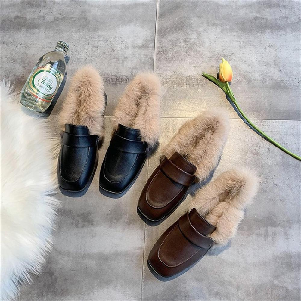 Autumn winter casual women shoes fluffy warm fluffy lining fashion black brown square toe women's shoes 27