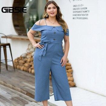 GIBSIE Plus Size Button Off Shoulder Cami Denim Jumpsuit Women Summer Casual Belted High Waist Wide Leg Jumpsuit Female