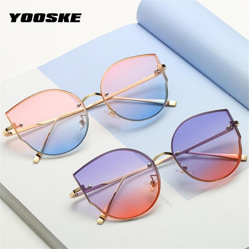 YOOSKE Classic Cat Eye Sunglasses Women 2019 Metal Design Oversized Rimless Sun Glasses Shades Ocean Sunglass UV400 Eyewear