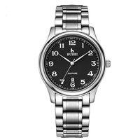 BUREI 3008 szwajcaria zegarki mężczyźni luksusowe męskie do sukni/garnituru z arabski liczby czarny analogowy Dial bransoleta ze stali nierdzewnej w Zegarki kwarcowe od Zegarki na