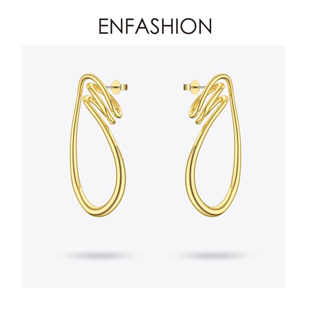 Image 3 - ENFASHION Irregular Curve Line Drop Earrings For Women Gold Color Simple Dangle Earings Fashion Jewelry Dropshippping E191143Drop Earrings   -
