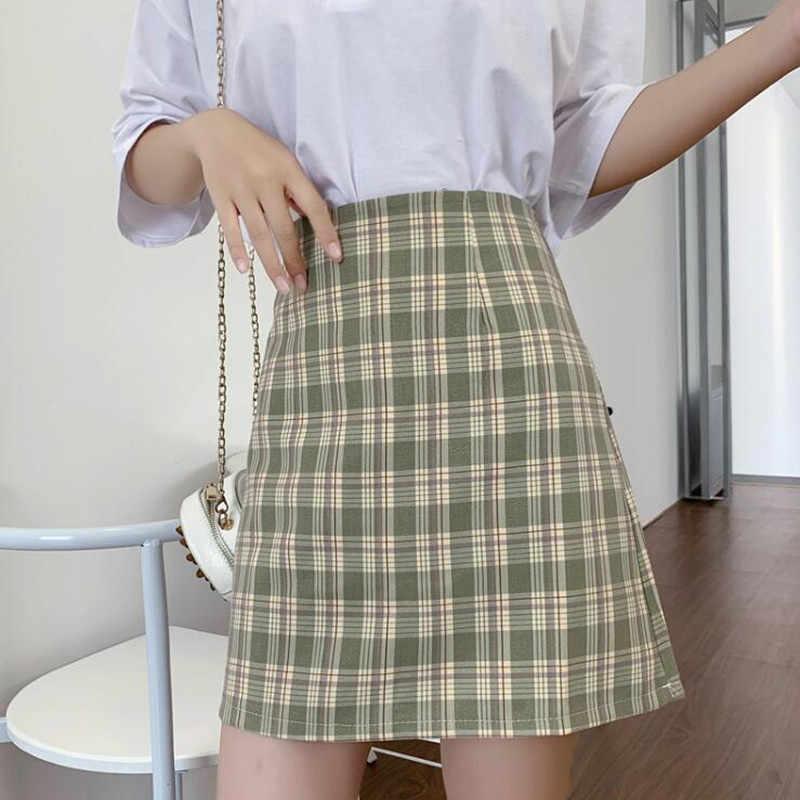 レディーススカート古着ラップチェック柄ショートスカート黒原宿夏のストリート 2020 弾性新ファッション人気