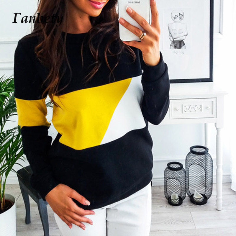 Fanbety Women Autumn Patchwork Sweatshirt  Winter Long Sleeve Pullovers Hoodies Casual O-Neck Streetwear Tracksuit Tops S-XXL