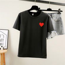 Fashion Love Heart-shaped Women Tshirt O-Neck White T-shirt 90s Harajuku print Short Sleeve Female Tops Girlfriend gift Tees