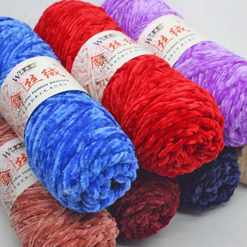 01 Papatya Velvet Blanket Chenille 100g Cake Yarn Acrylic wool knitting crochet
