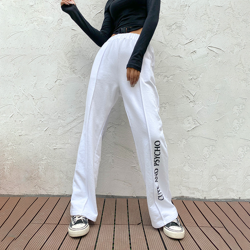 Ebay cross-border new winter Europe and the United States women's fashion show thin line printed cotton sports leisure trousers