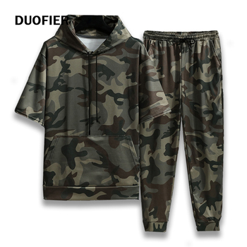 Spring Summer New Camouflage Men's Suit Sports Fitness Short Sleeve Hoodie+Trousers Men 2 Pieces Casual Outdoor Fashion Shorts 1