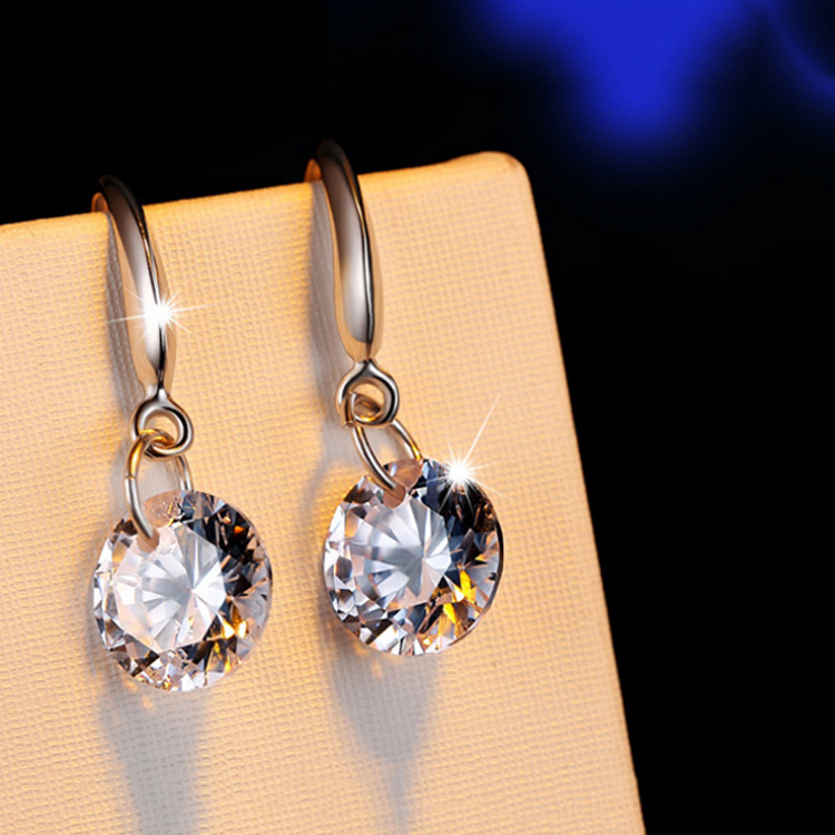 Exquisite 925 Sterling Silver Zircon Flower Pearl Stud Drop Party Earrings Gift