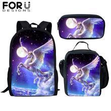 FORUDESIGNS 3Pcs School Bag Set for Kids Girls Unicorn Horse Backpack Boy Bagpack Children Bookbag Satchel Daypack 2019