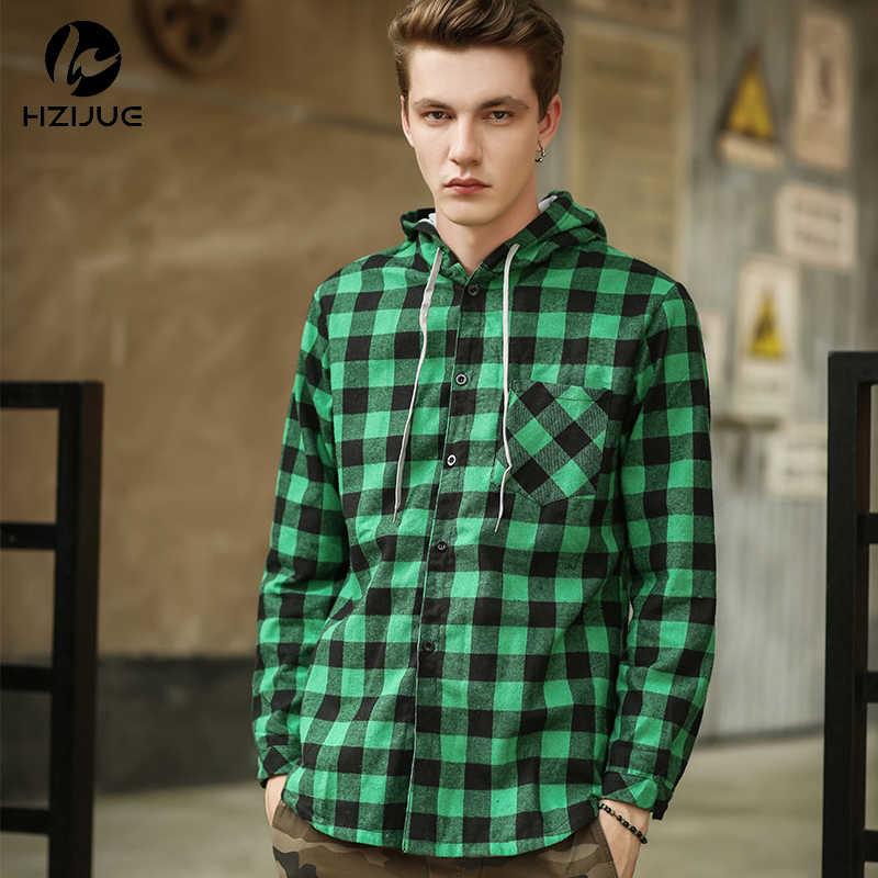 新しい秋カニエ西ヒップホップ格子縞のシャツの男性ハイストリートファッション盗品服ルーズヒップスター延縄フードシュミーズ S-XXL