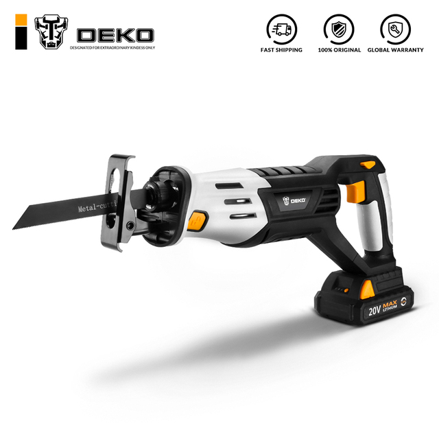 DEKO 20V Cordless Reciprocating Saw Adjustable Speed with Battery and 4 Pieces Blades Power Tools